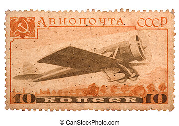 postage stamp ussr on white background