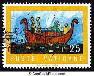 Postage stamp Vatican 1974 Noah's Ark - VATICAN - CIRCA 1974...