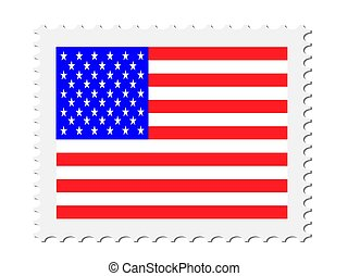 Postage Stamp With American Flag Vector illustration Eps 10
