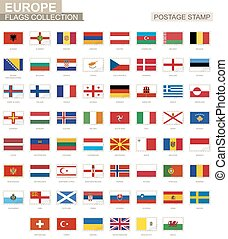 Postage stamp with Europe flags. Set of 62 European flag.