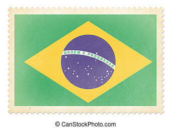 Postage stamp with flag of Brazil isolated. Clipping path is inc