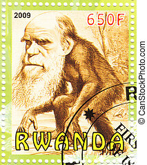postage stamp with great scientist andnaturalist Charles Darwin as monkee