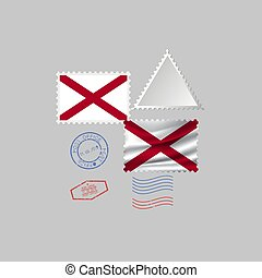 Postage stamp with the image of ALABAMA state flag. Vector Illustration.