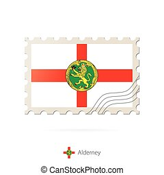 Postage stamp with the image of Alderney flag. Alderney Flag...