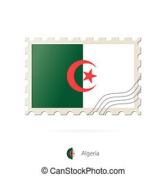 Postage stamp with the image of Algeria flag.