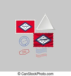 Postage stamp with the image of Arkansas state flag. Vector