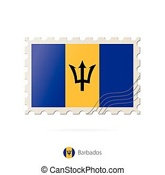 Postage stamp with the image of Barbados flag.