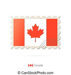 Postage stamp with the image of Canada flag.