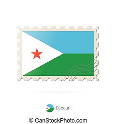 Postage stamp with the image of Djibouti flag.