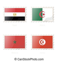 Postage stamp with the image of Egypt, Algeria, Morocco, Tunisia flag.
