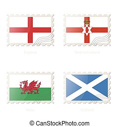 Postage stamp with the image of England, Northern Ireland, Wales, Scotland flag.