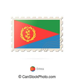 Postage stamp with the image of Eritrea flag.