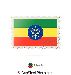 Postage stamp with the image of Ethiopia flag.
