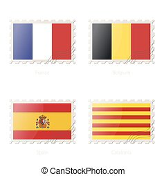 Postage stamp with the image of France, Belgium, Spain, Catalonia flag.