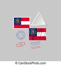 Postage stamp with the image of Georgia state flag. Vector Illustration.