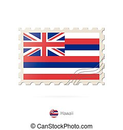 Postage stamp with the image of Hawaii state flag.