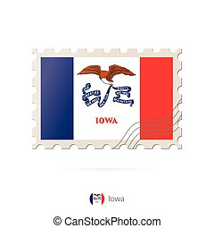 Postage stamp with the image of Iowa state flag.