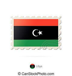 Postage stamp with the image of Libya flag.