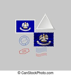 Postage stamp with the image of Louisiana state flag. Vector Illustration.