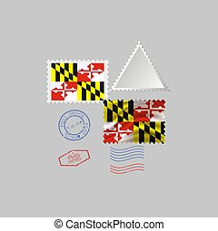 Postage stamp with the image of Maryland state flag. Vector Illustration.