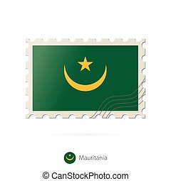 Postage stamp with the image of Mauritania flag.
