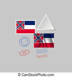 Postage stamp with the image of Missouri state flag. Vector Illustration.