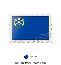 Postage stamp with the image of Nevada state flag.