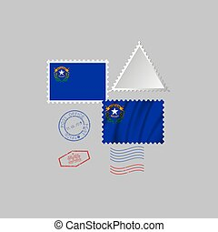 Postage stamp with the image of NEVADA state flag. Vector Illustration.