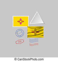 Postage stamp with the image of New Mexico state flag. Illustration.