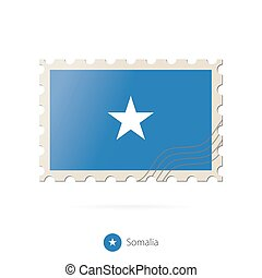 Postage stamp with the image of Somalia flag.