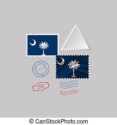 Postage stamp with the image of South Carolina state flag. Vector Illustration.