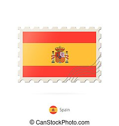 Postage stamp with the image of Spain flag.