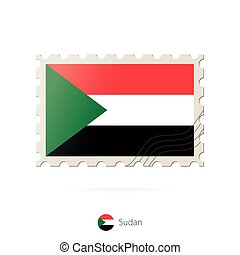 Postage stamp with the image of Sudan flag.