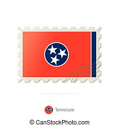 Postage stamp with the image of Tennessee state flag.