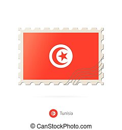 Postage stamp with the image of Tunisia flag.