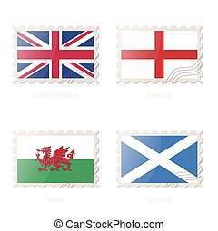 Postage stamp with the image of United Kingdom, England, Wales, Scotland flag.