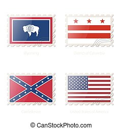 Postage stamp with the image of Wyoming, District of Columbia, Confederate, United States of America Flag.