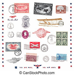 Postage stamps and labels from US, mostly vintage showing...