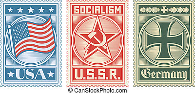 postage stamps collection (usa stamp, ussr stamp, germany stamp)