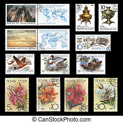 Stamps from the former Soviet Union in 1989 with natural motifs