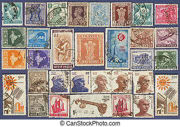 Postage stamps of India.