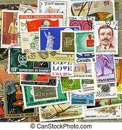 Postage stamps of the different countries, for backgrounds or textures