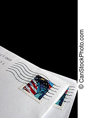 Postage stamps on a letter
