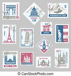 Postage Stamps Set - Postage stamps set with world famous...