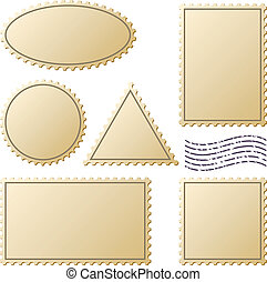 Postage stamps vector set