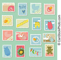 Postage stamps with baby theme - Sweet baby themed postage...