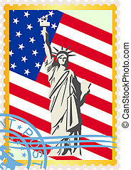 Postage stamps with the flag and th