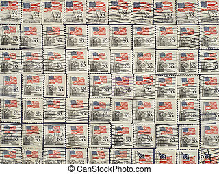 Postage stamps with the USA State Flag.