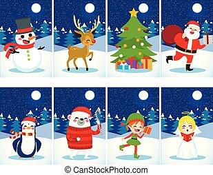 postais, natal, caráteres