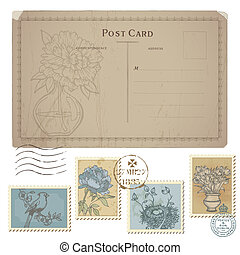 postaköltség, állhatatos, levelezőlap, szüret, -, topog, vektor, virág, madarak